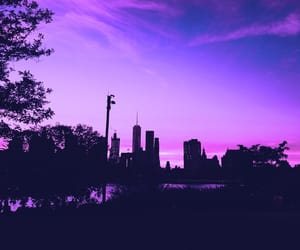 purple, city, and sky image