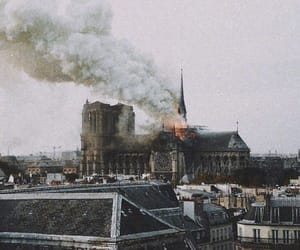 notre dame, france, and fire image