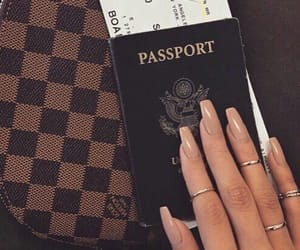travel, nails, and passport image