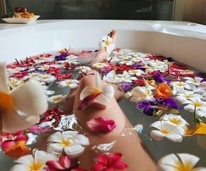 flowers, bath, and relax image