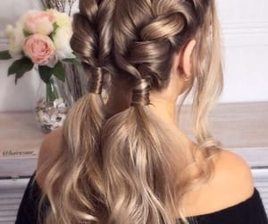 braids, flowers, and girly image