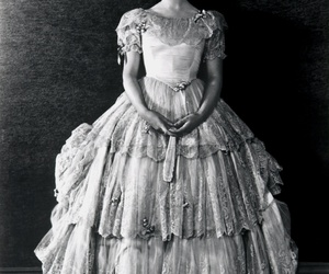 black and white, dress, and woman image