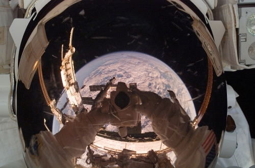 space, astronaut, and earth image