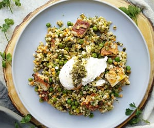 eggs, poached egg, and couscous image