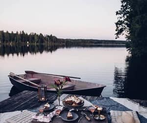 boat, lake, and food image