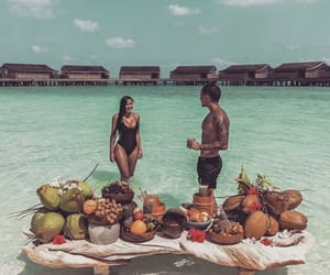 beach, couple, and food image