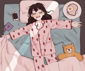 anime, bed, and girl image