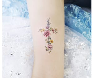 flowers, tattoo, and cross image