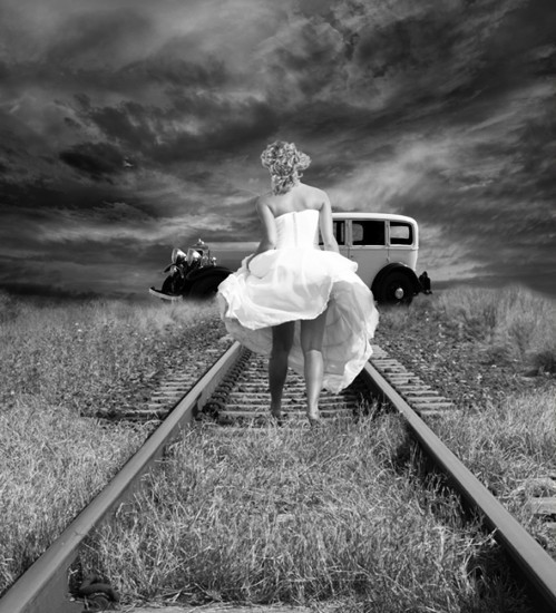 Black and white girl railway vintage inspiring picture on favim com
