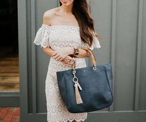 white lace dress, mark and graham, and bamboo tote bag image