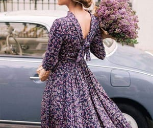cars, flowers, and girl image