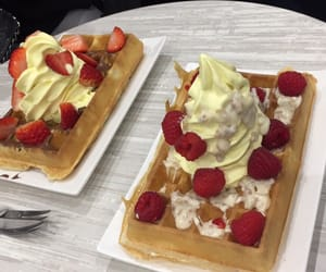 ice, waffle, and strawberries image