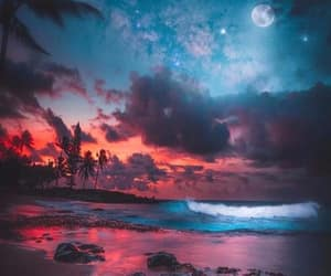 beach, ocean, and clouds image