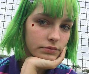 colored hair, green hair, and short hair image