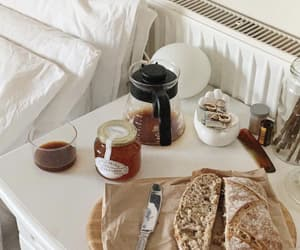 bedside table, breakfast, and decor image
