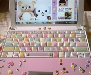 kawaii, pink, and laptop image