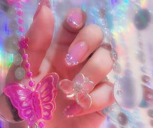butterfly, nails, and pink image