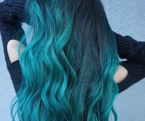 aesthetic, blue green, and blue hair image