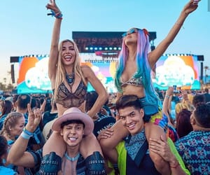 best friends, music festival, and romance image