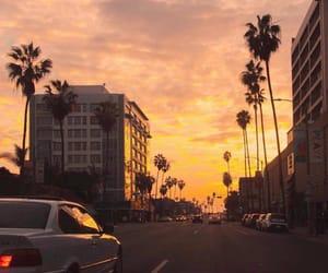 sunset, car, and sky image