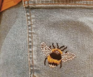 bee, jeans, and yellow image