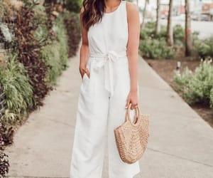 jumpsuit, summer, and straw basket bag image