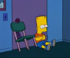 sad, bart, and the simpsons image