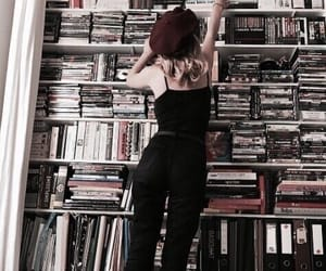 beret, library, and reading image