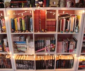books, bookshelf, and lights image