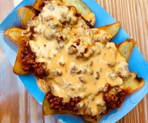 cheese, chilli, and potato wedges image