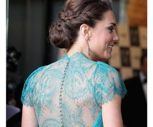 blue dress, hair, and kate middleton image