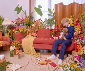 dog, flowers, and group image
