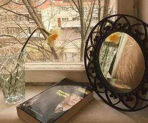 book, flowers, and room image