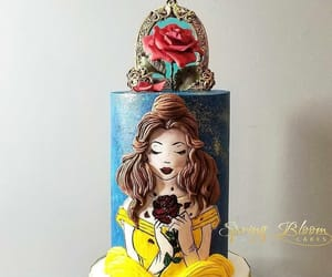beauty and the beast, birthday cake, and cakes image
