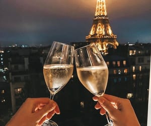 paris, champagne, and couple image