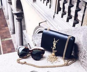 bag, sunglasses, and YSL image