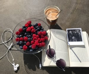 books, coffee, and food image