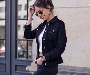black, brunette, and outfit image