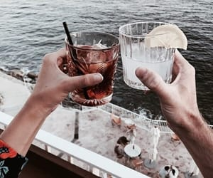 drinks, beach, and food image