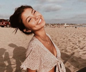 girl, beach, and smile image