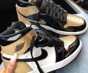 air jordan, black, and gold image