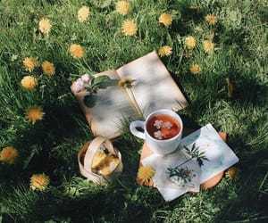 tea, flowers, and book image