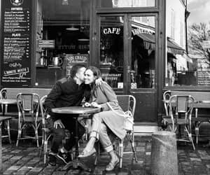 black and white, cafe, and couple image