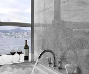 bathroom, water, and gray image