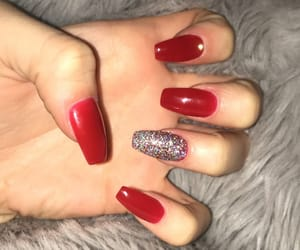 acrylic, nails, and red image