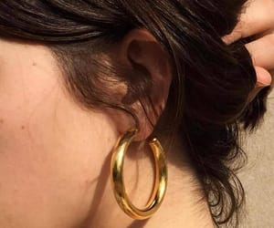 gold, jewlery, and hoops image