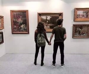 art, couple, and holding hands image