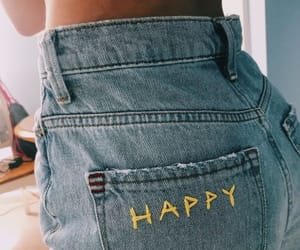 happy, yellow, and jeans image