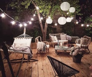 backyard, garland, and hammock image