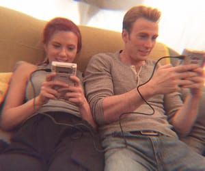 Scarlett Johansson, chris evans, and Marvel image